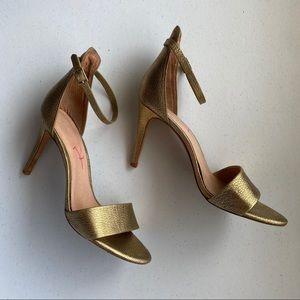 Joie Metalic Gold JACLYN Ankle Strap Stiletto Heel